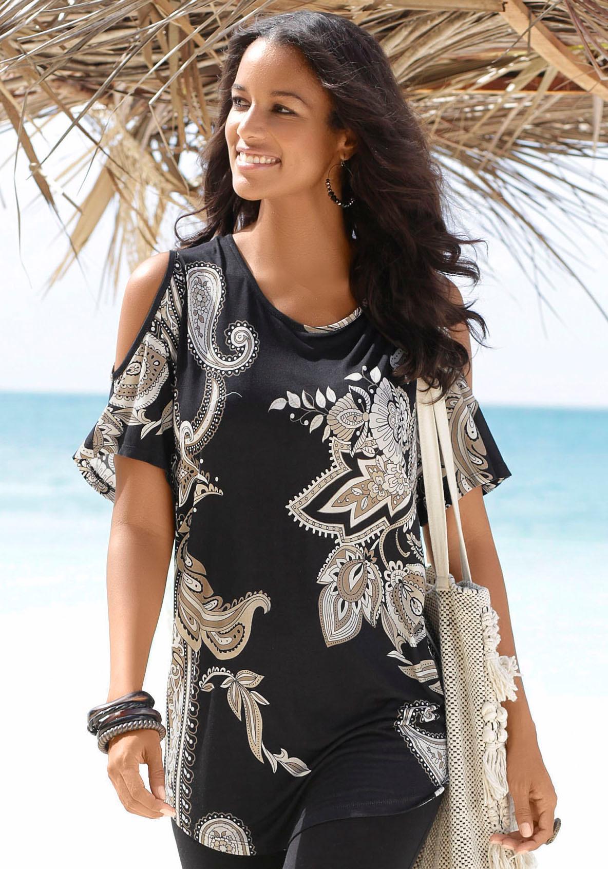 LASCANA Longshirt mit Cut-outs an den Schultern