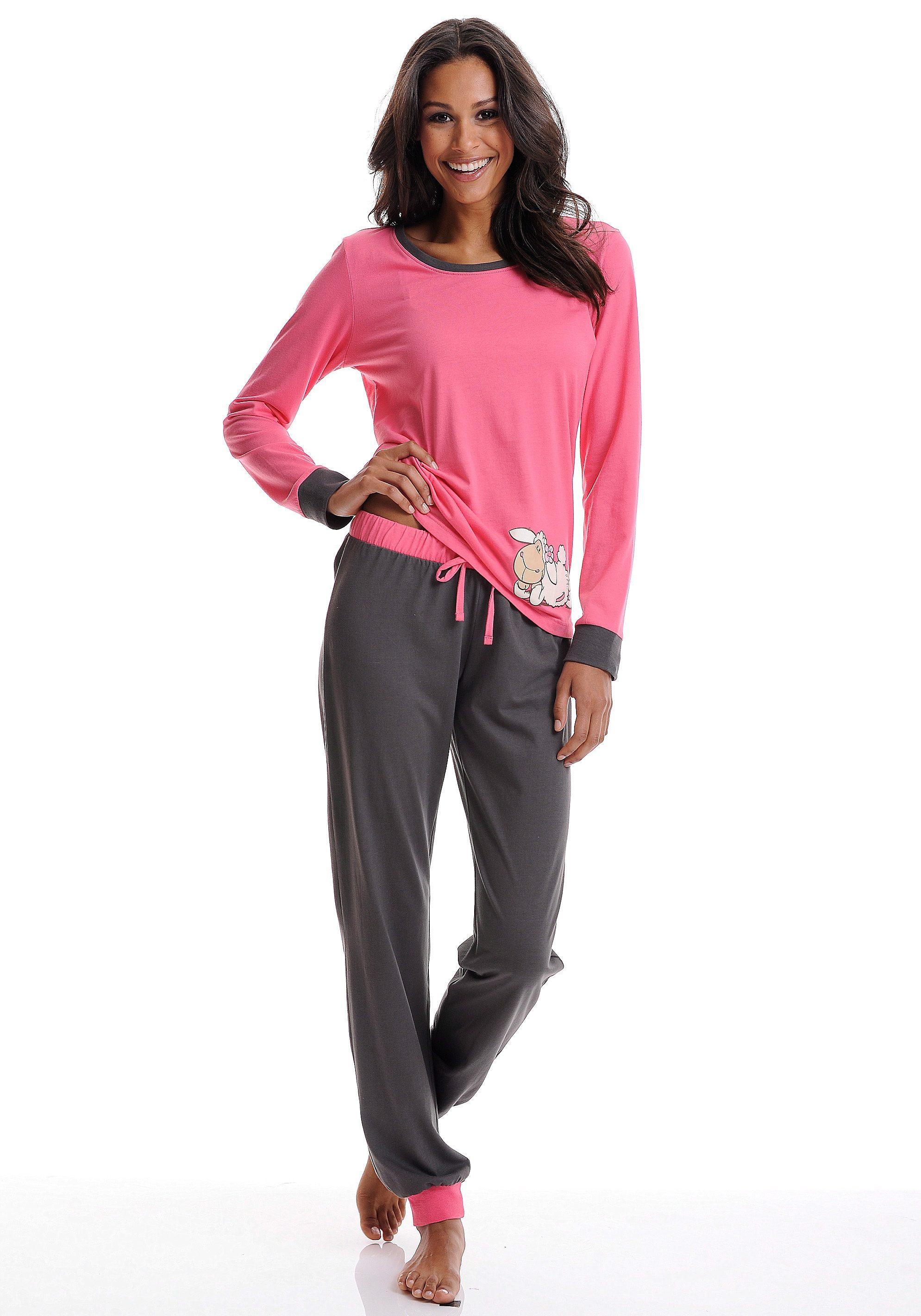 Trendy Pyjama NICI in Pink-Anthrazit mit süssem Schäfchen-Print