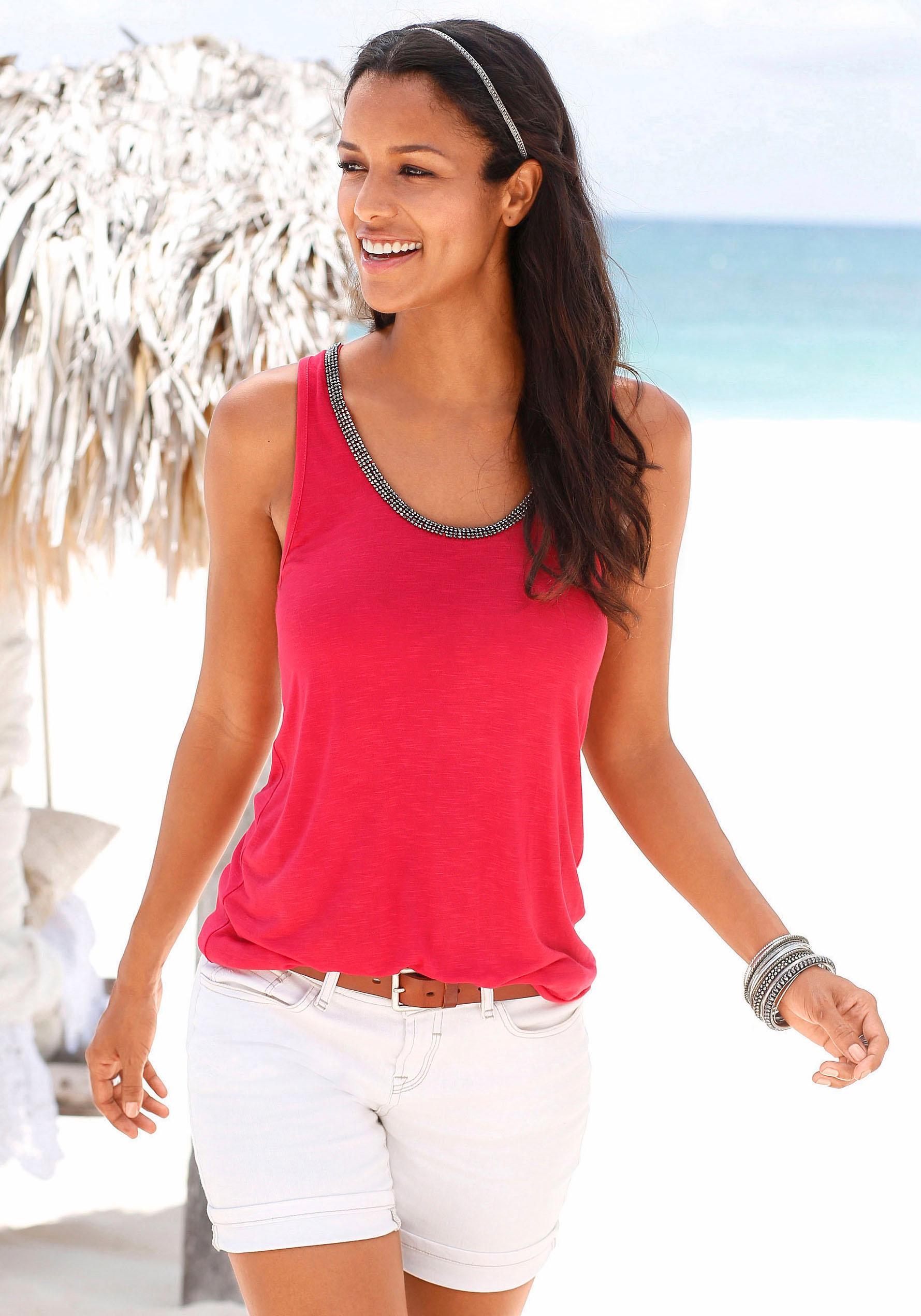s.Oliver RED LABEL Beachwear Top mit Glitzerdetail