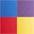 gelb + rot + lila + blau