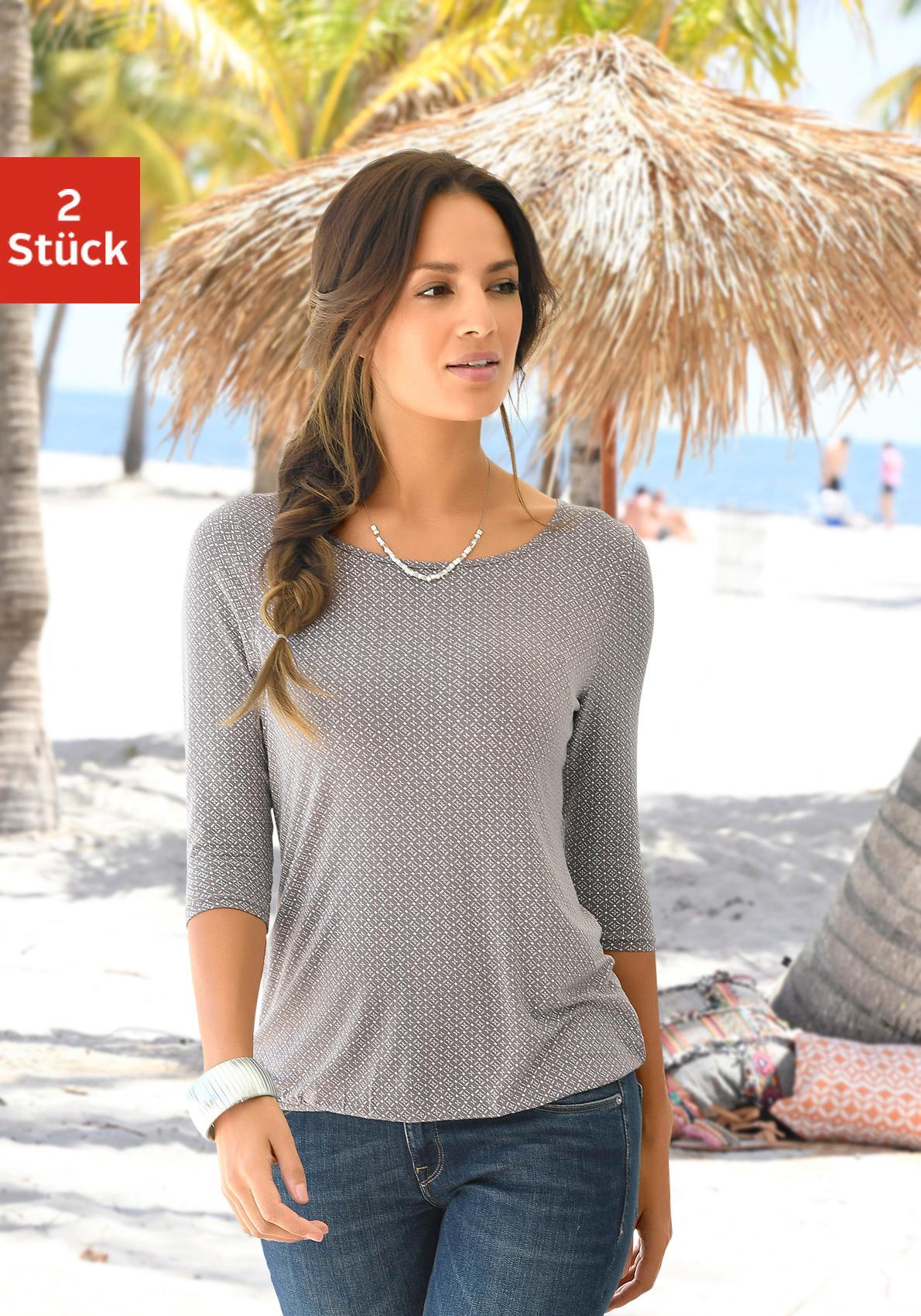 LASCANA Shirt (2 Stück) mit Cut-out im Nacken