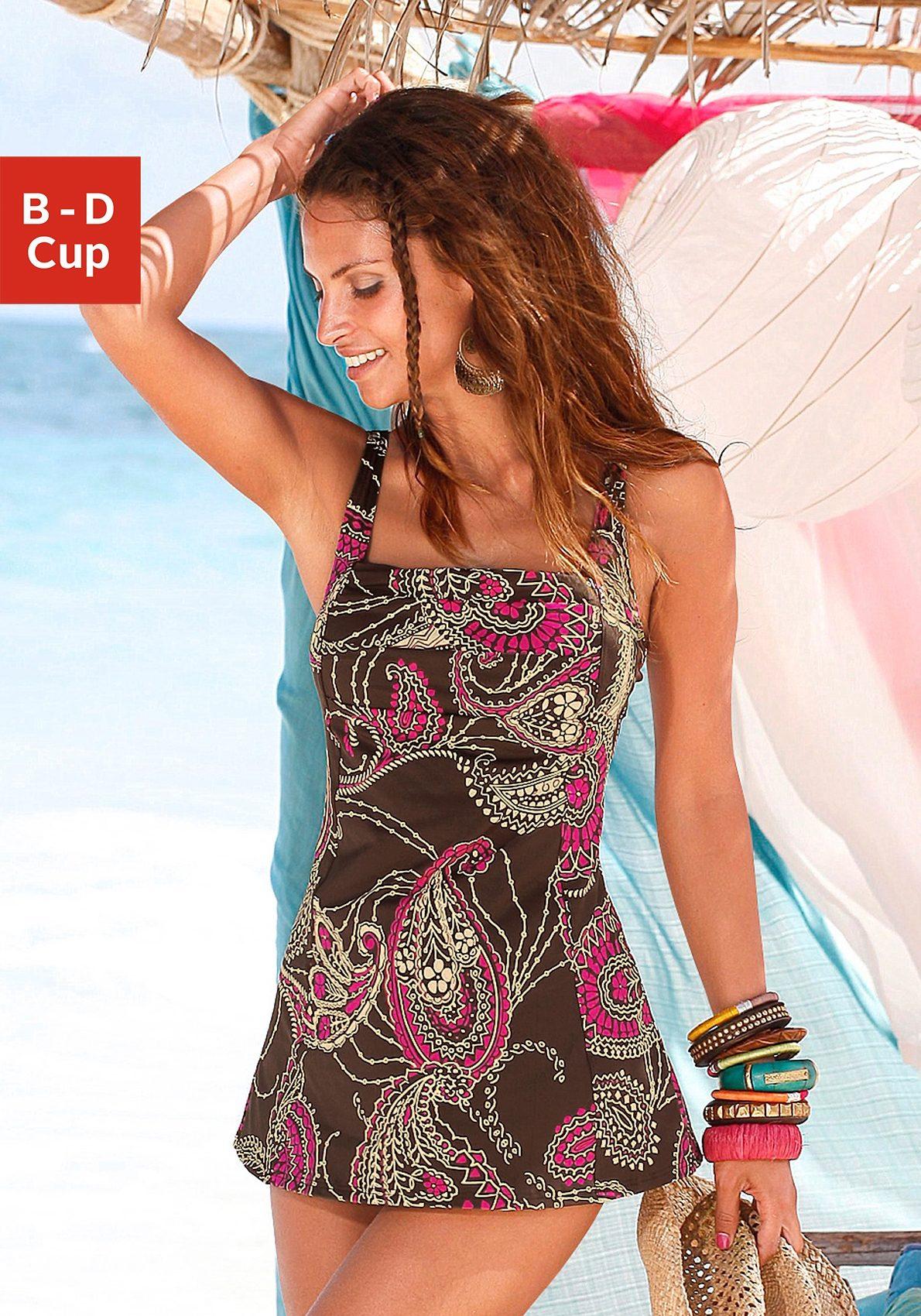 LASCANA Badeanzugkleid mit schönem Druck oder unifarben