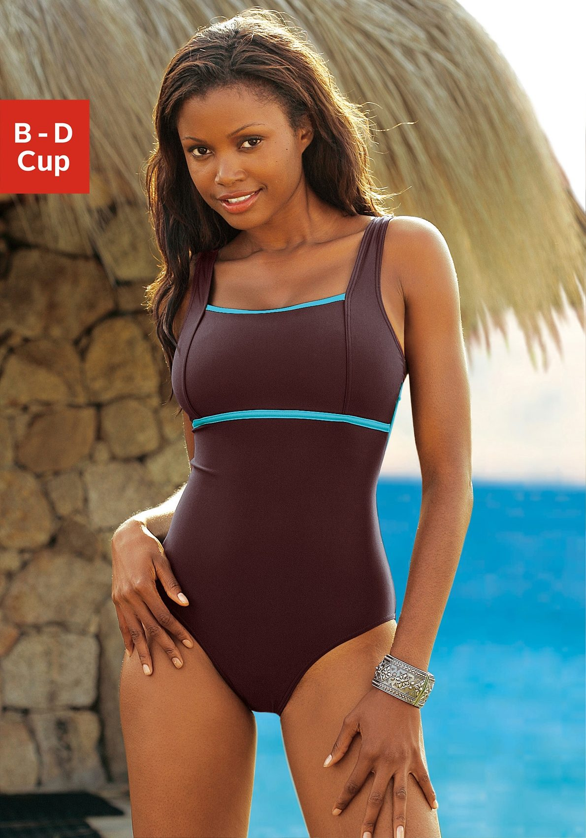 LASCANA Badeanzug mit kontrastfarbenem Einsatz