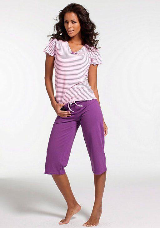 H.I.S Capripyjama mit gestreiftem T-Shirt mit Kräuselrändern