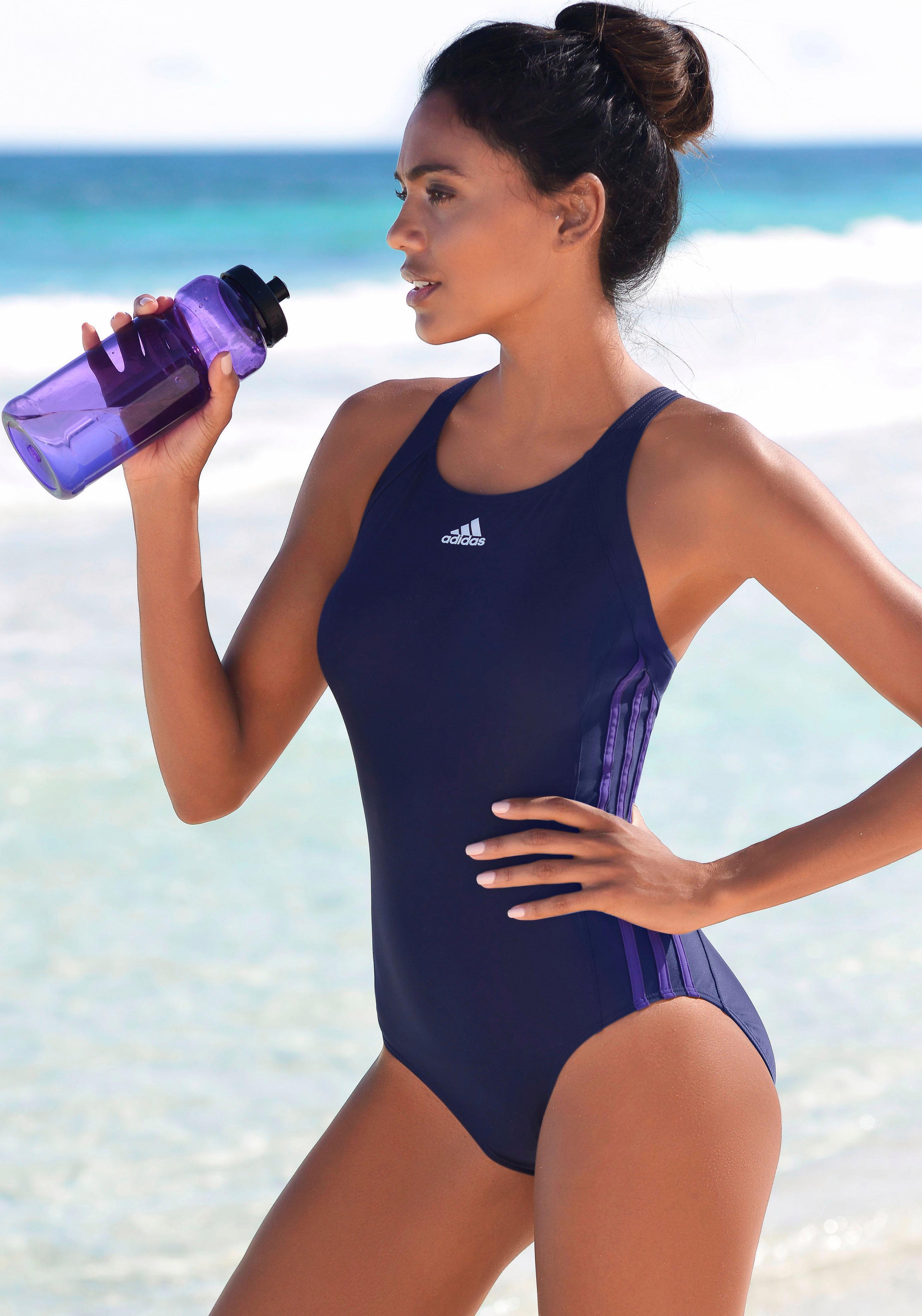 adidas Performance Badeanzug mit seitlichen Streifen