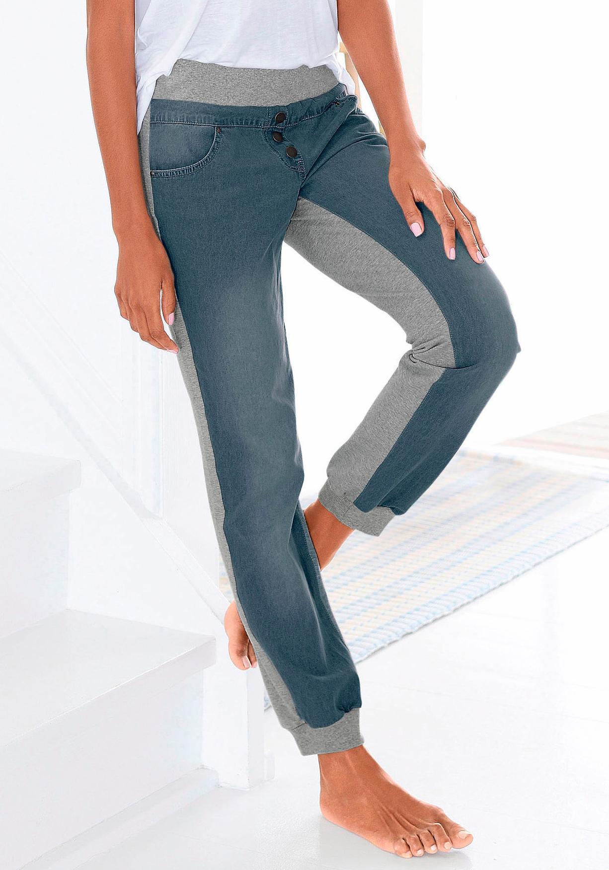 Buffalo Denim Sweatpants mit Jeans-Frontseite