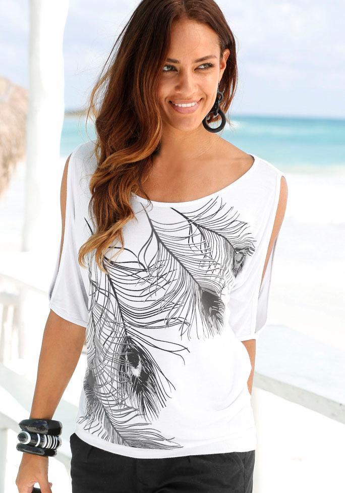 LASCANA Shirt mit Schlitzen an den Schultern