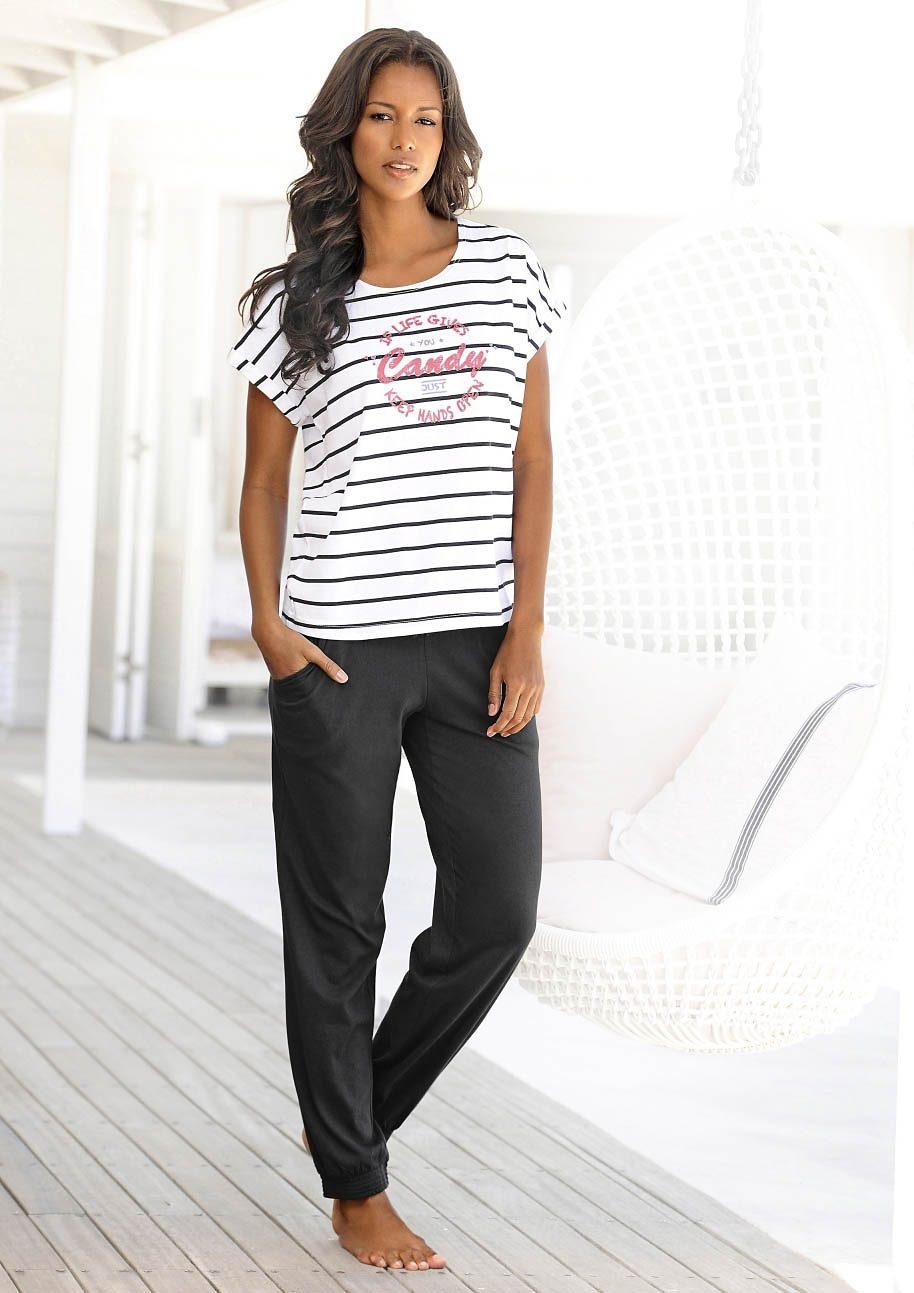 Lässiger Pyjama, Buffalo, weiche Baumwollqualität in angesagtem Schwarz-Weiss-Design