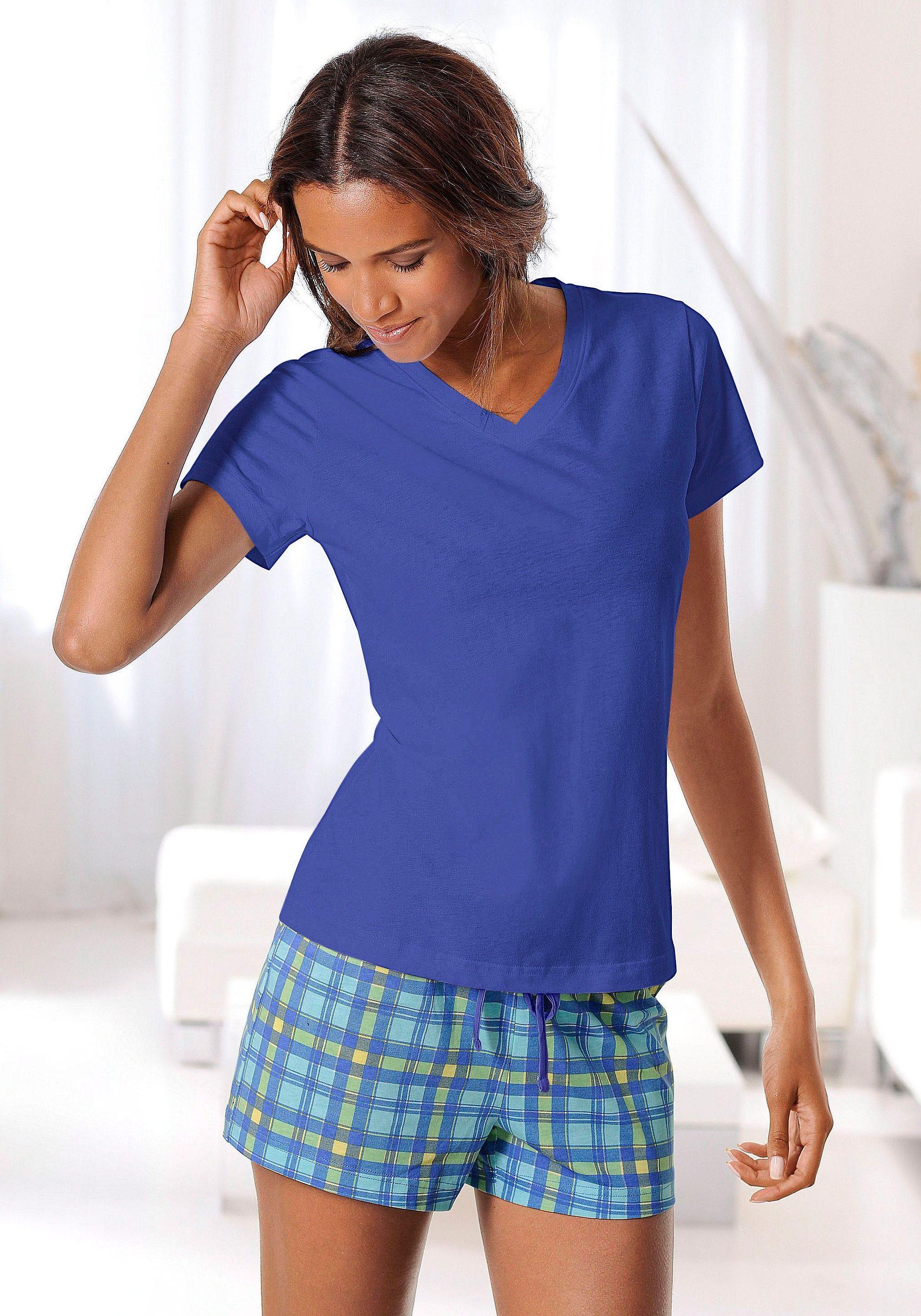 H.I.S Shorty mit karierter Shorts & T-Shirt mit V-Ausschnitt
