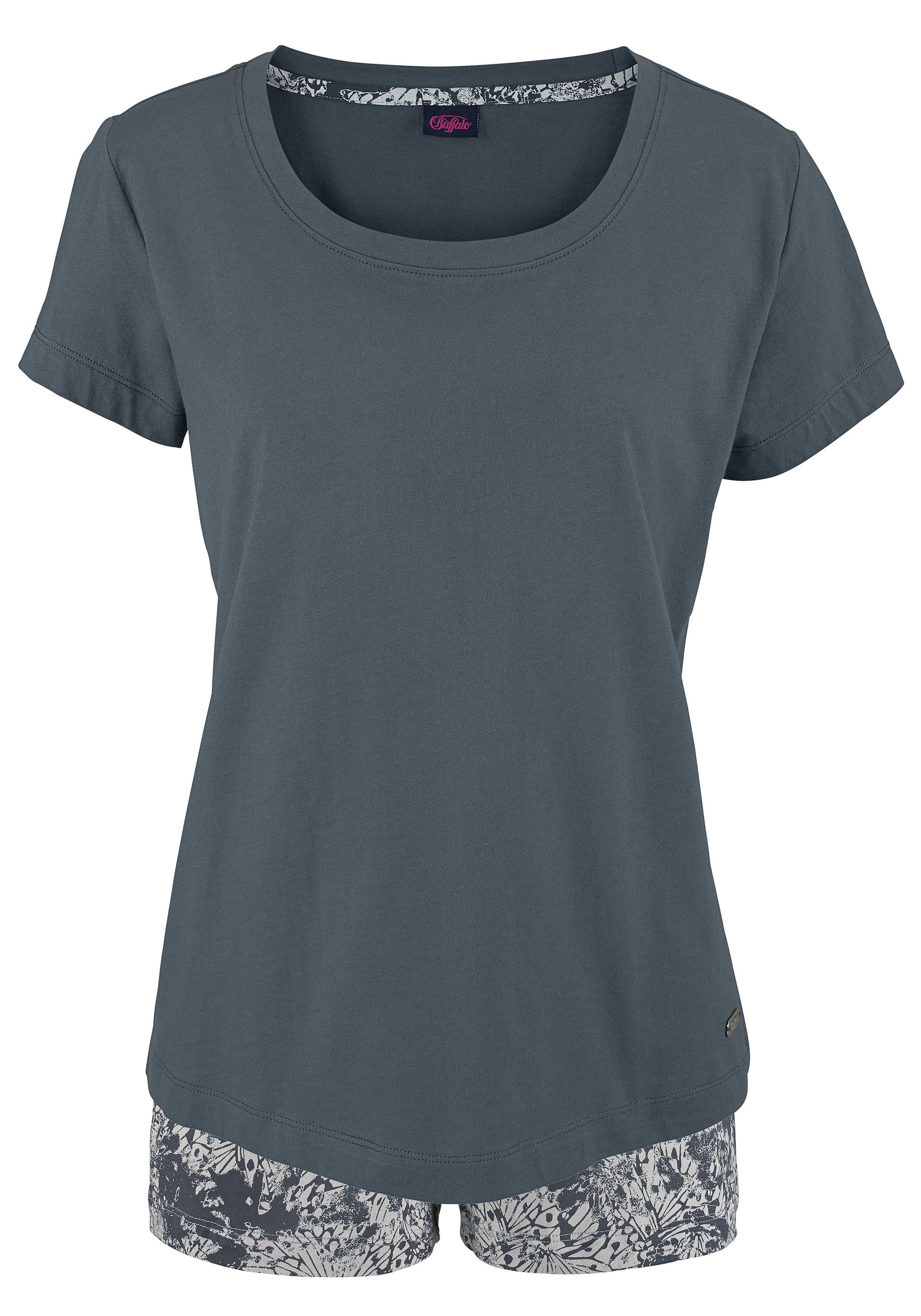 Buffalo Shorty mit gemusterter Shorts & softem Basic T-Shirt