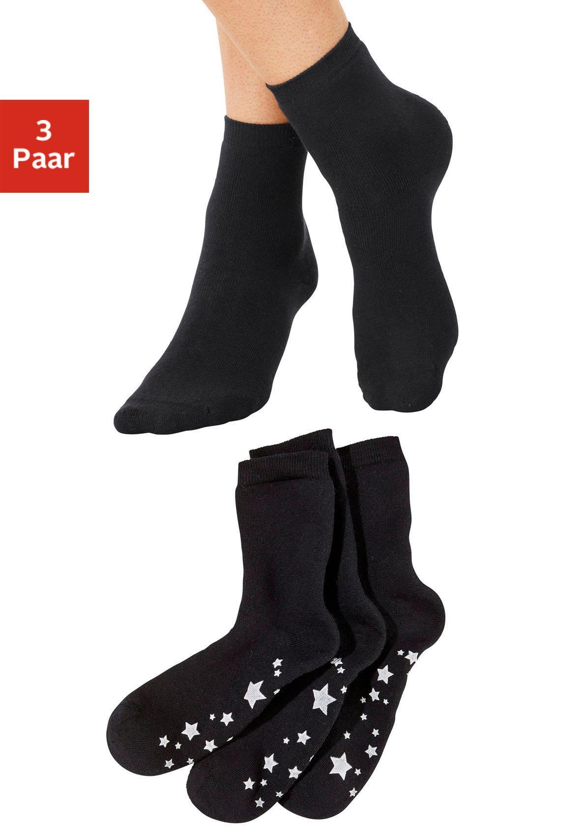 ABS-Socken (3 Paar) mit Antirutschsohle im Sterndesign