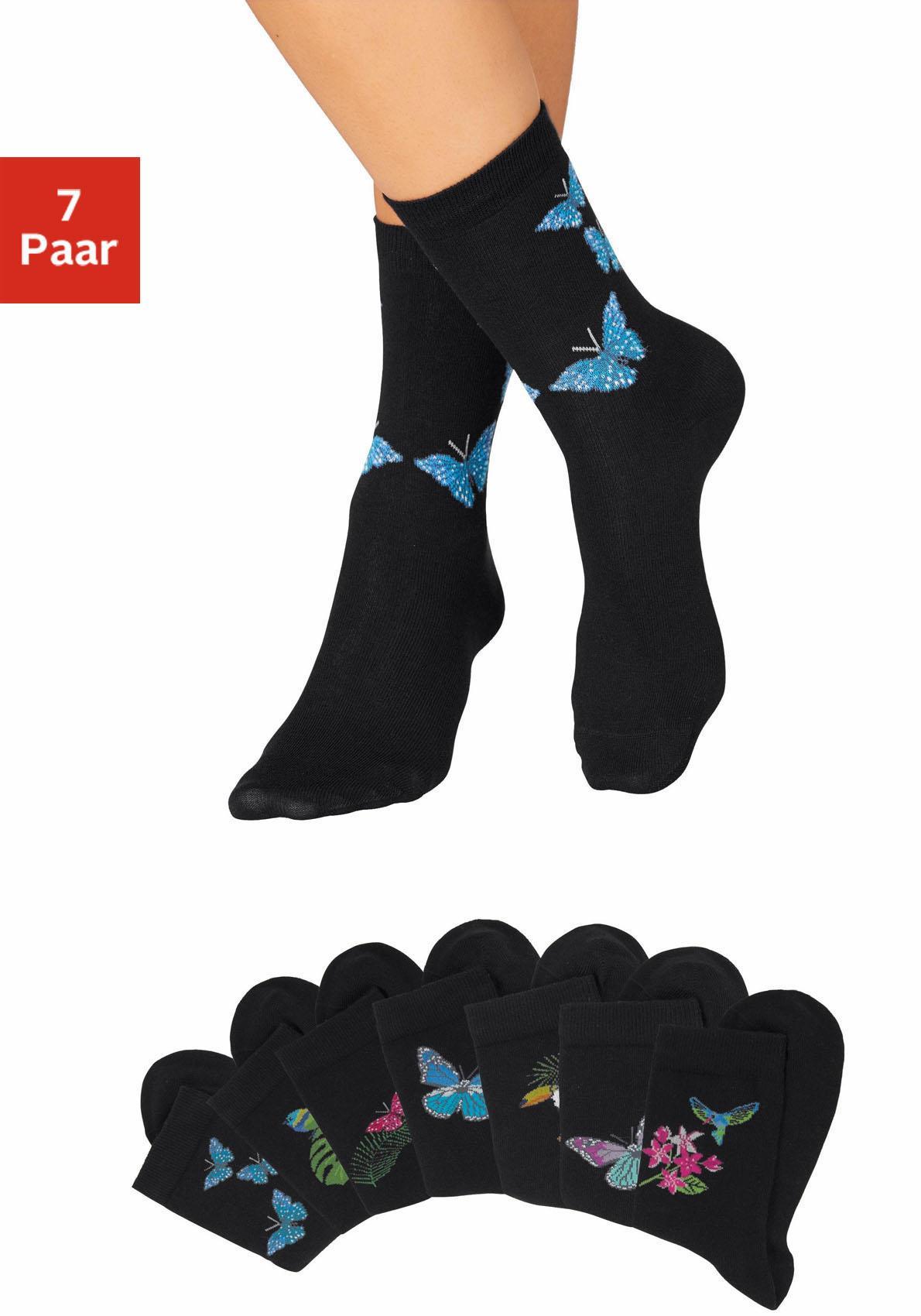 H.I.S Socken (7 Paar) mit Schmetterlings- und Vogelmotiven