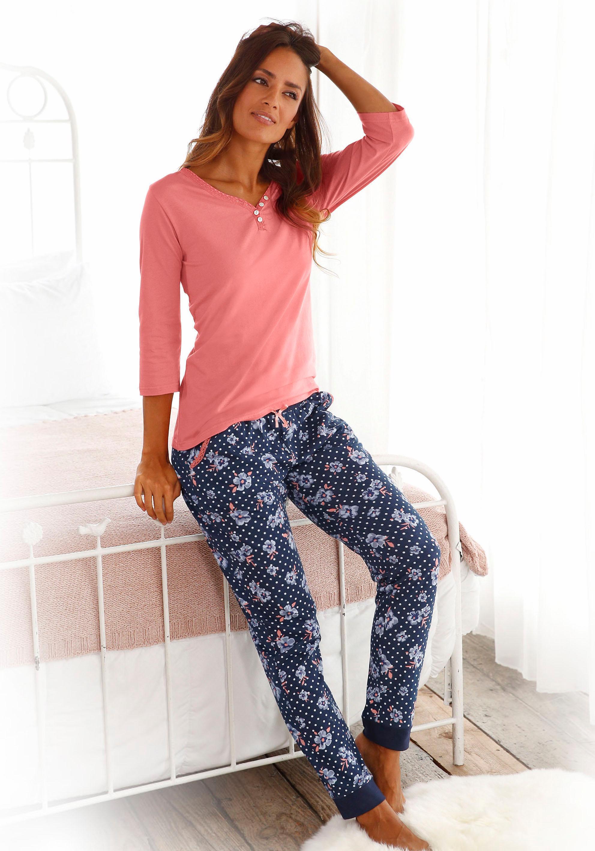 H.I.S Pyjama mit 3/4-Arm und Knopfleiste
