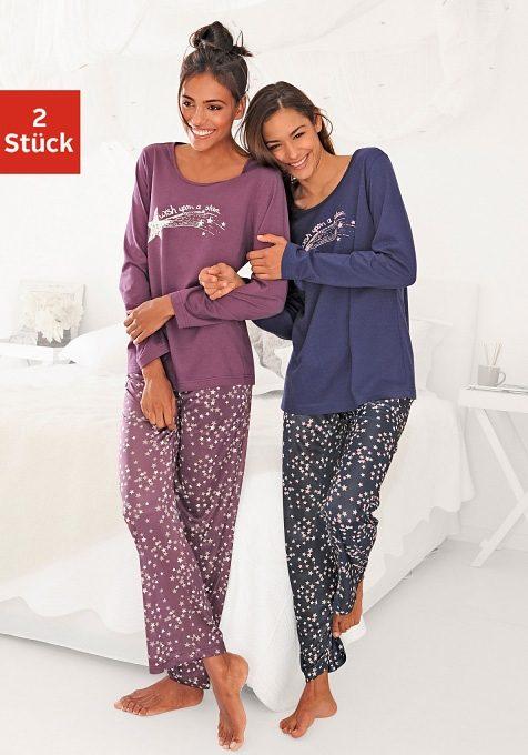 Schöne Pyjamas (2 Stück), Vivance Dreams, 100% Baumwolle, in süssem Sternchen-Print