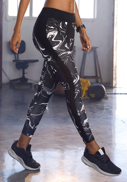 LASCANA ACTIVE Leggings »Black Marble«