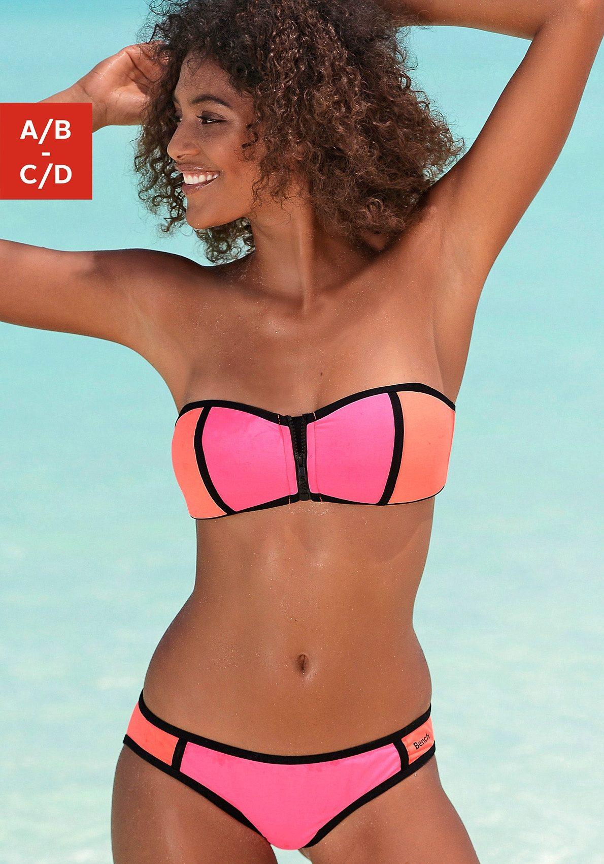 Bench Bandeau-Bikini mit Reissverschluss am Top
