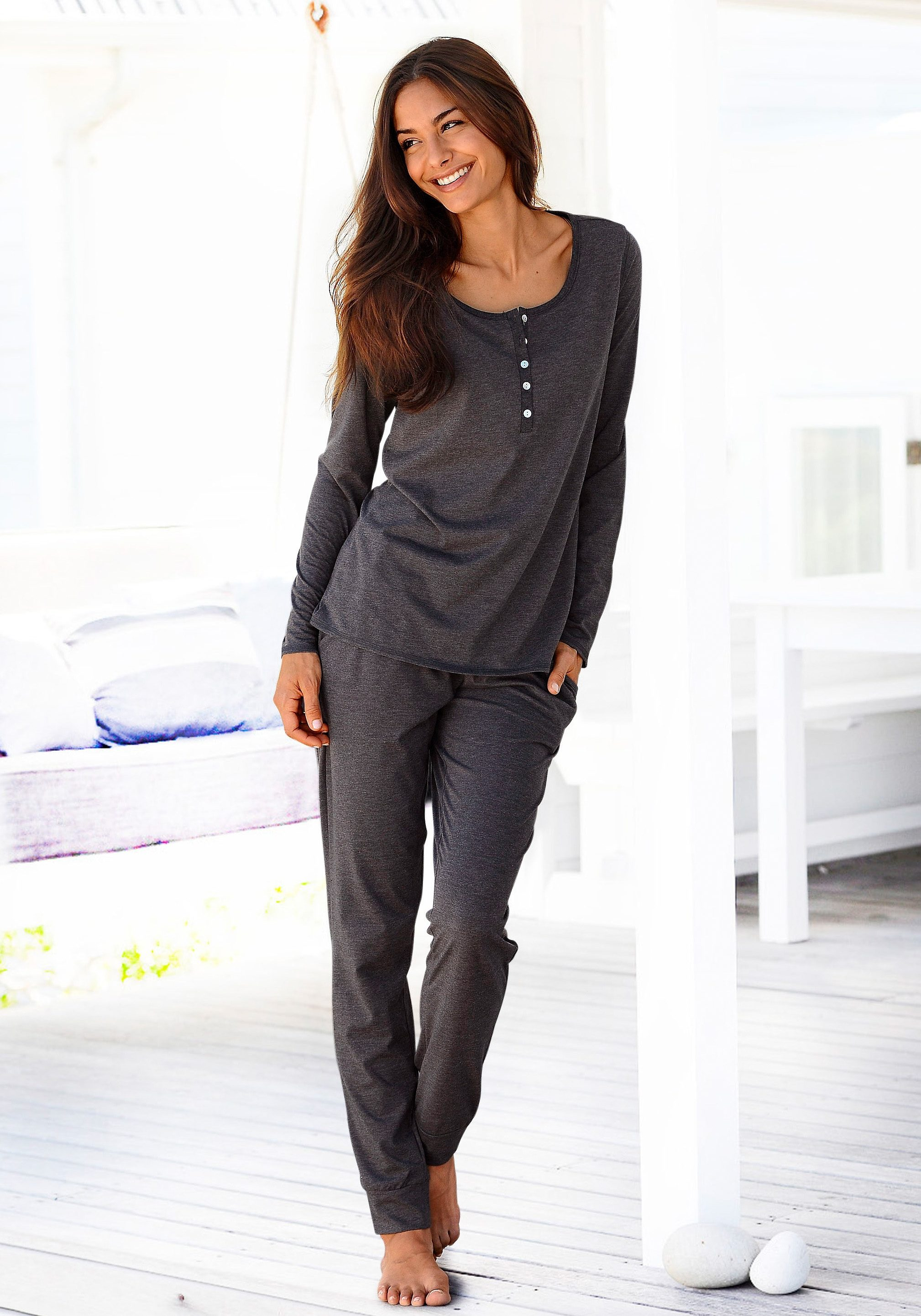 ARIZONA Basic-Pyjama in melierter Qualität mit Knopfleiste