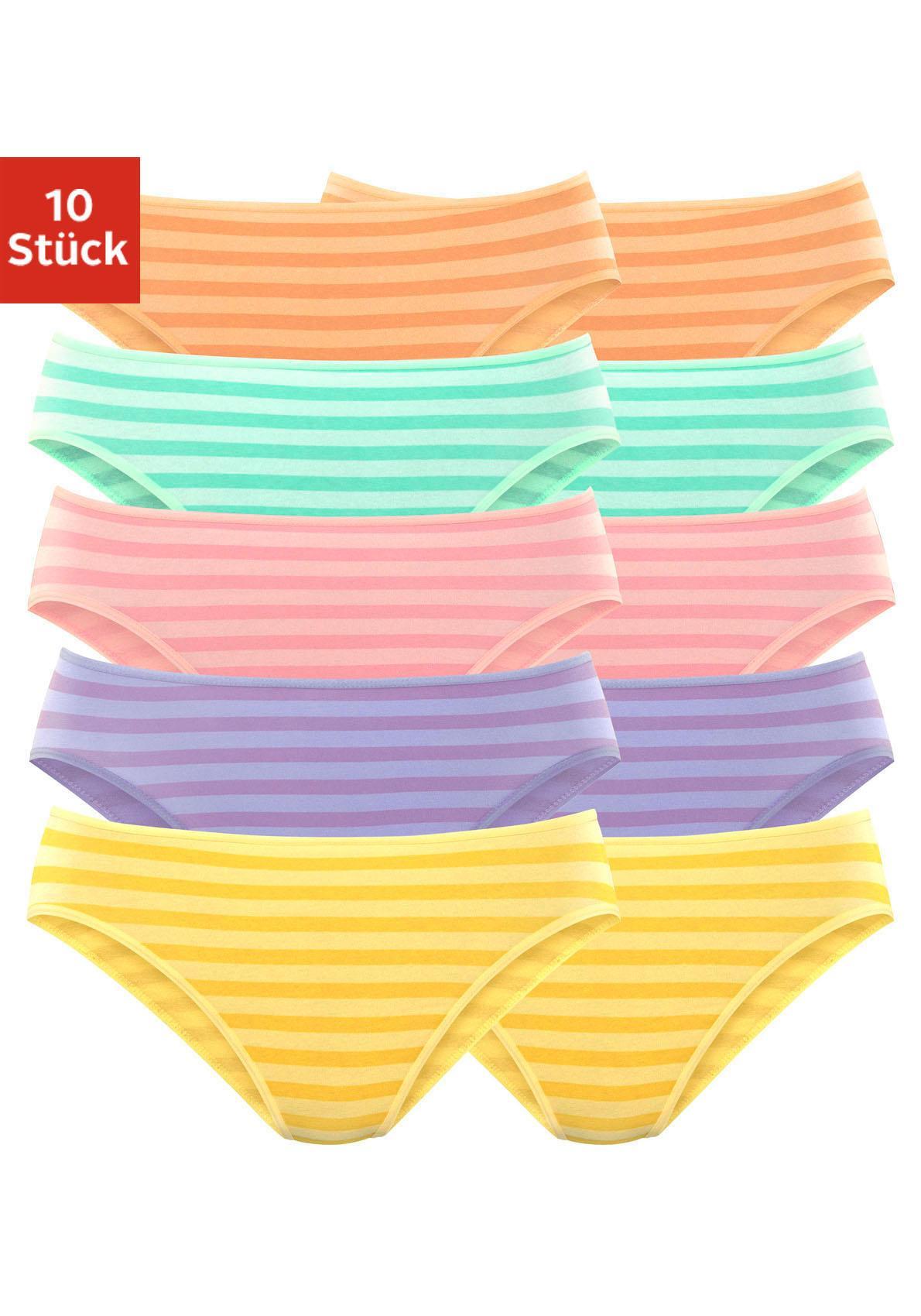 GO IN Bikinislips (10 Stück), in verschiedenen Farben mit Streifen