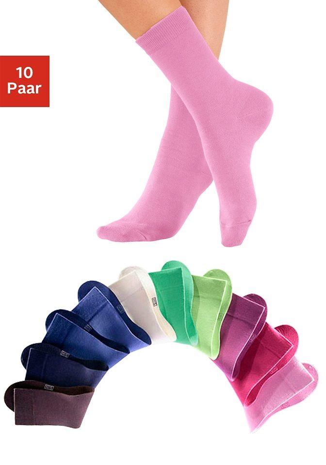 Unisex-Socken (10 Paar), H.I.S, angenheme Baumwollqualität, breite Farbpalette mit grosser Auswahl