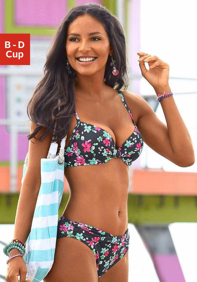 s.Oliver RED LABEL Beachwear Wattiertes Bügel-Top »Valencia« mit Raffung