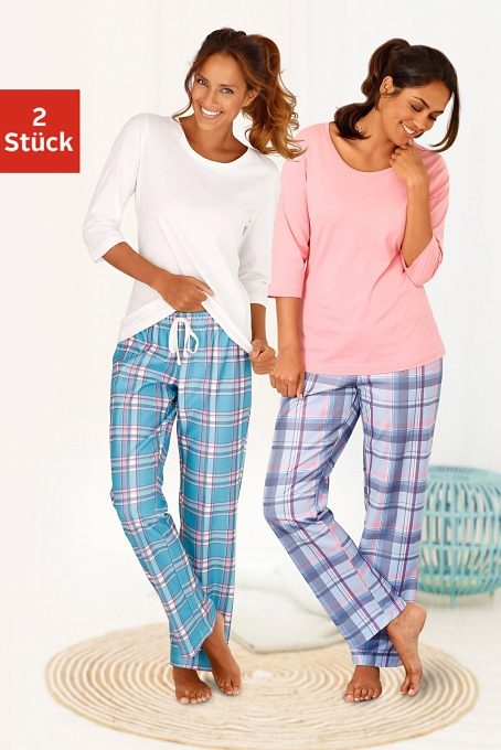 ARIZONA Karierte Pyjamas (2 Stück) mit passenden Basicshirts