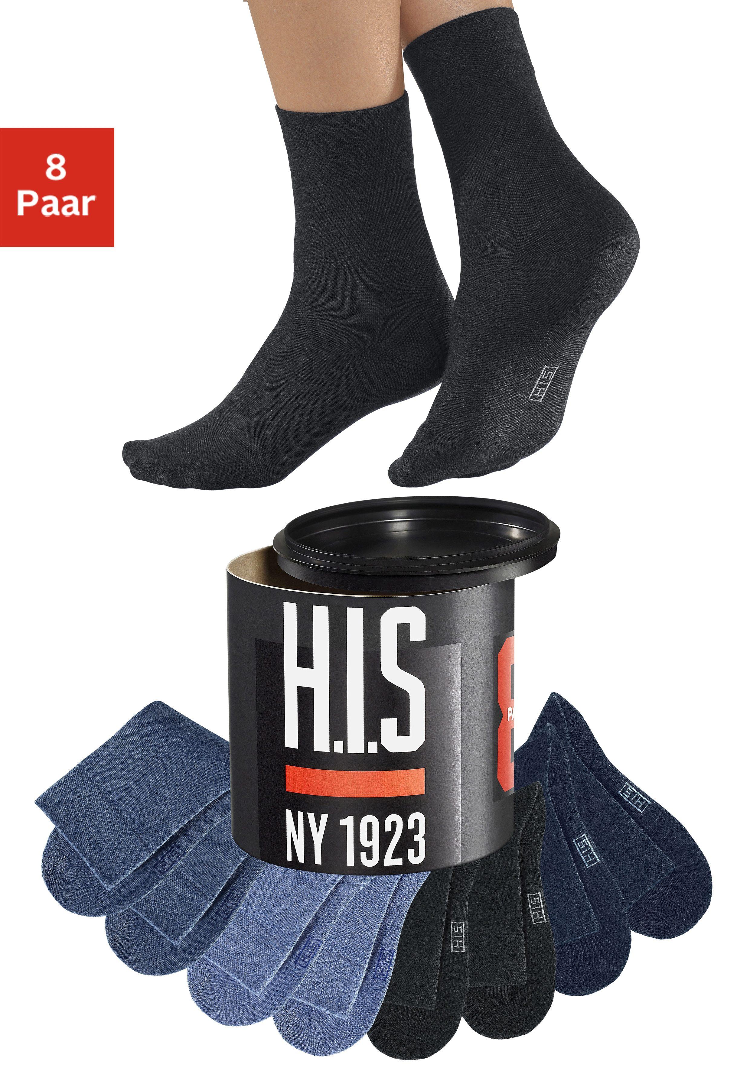 H.I.S Socken (8 Paar) Jeanstöne in der Geschenkdose