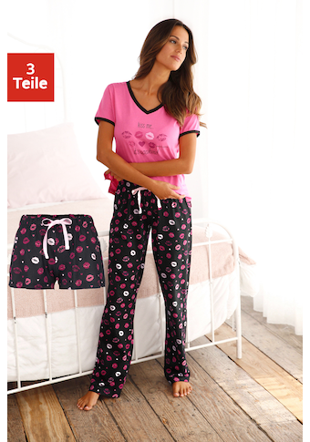 Vivance Dreams Pyjama, (3 tlg.), mit Kussmund Print