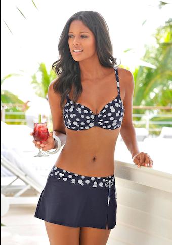LASCANA Bade-Rock, mit integrierter Bikinihose und bedrucktem Bündchen