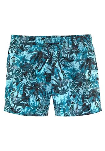 Hom Badeshorts, mit tropischem Print