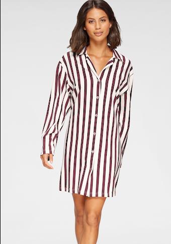 Cybèle Nachthemd, gestreift mit klassischem Hemdkragen