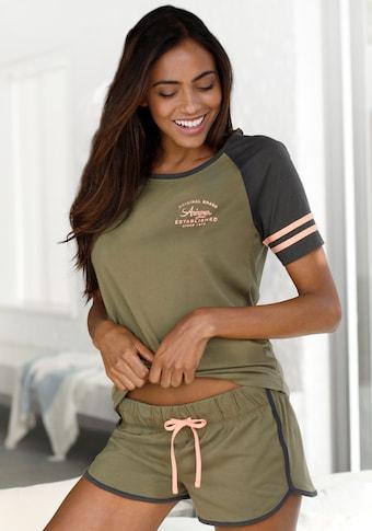 Pyjashort Arizona, haut avec patte de boutonnage et Logo imprimé sur la poitrine