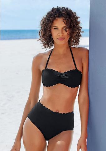 LASCANA Highwaist-Bikini-Hose »Scallop«, mit gelaserter Wellenkante