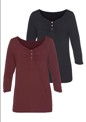 Vivance : T-shirts (2 pièces) avec lien à nouer à l'encolure
