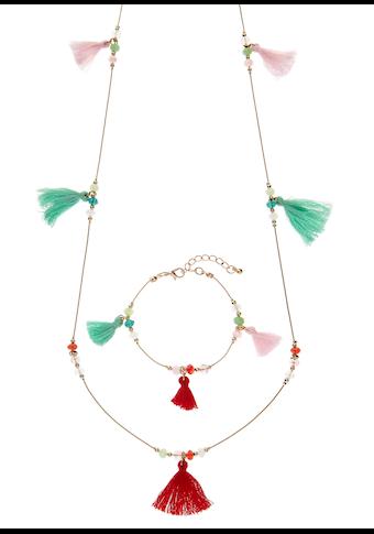 LASCANA Schmuckset, aus Kette und Armband mit farbigen Tasseln