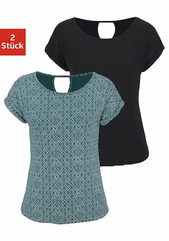 LASCANA T-Shirt, mit modischem Cut-out im Nacken