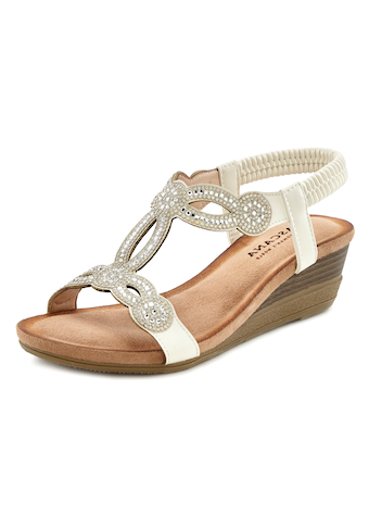 LASCANA Sandale, mit Schmucksteinen und elastischen Riemen