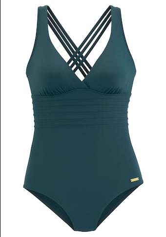 LASCANA Badeanzug »Rainbow Collection«, mit gekreuzten Bändern im Rücken und Shaping-Effekt