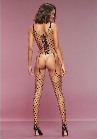 petite fleur goldfarben Bodystocking, aus Maxi-Netz mit Zierschleifen