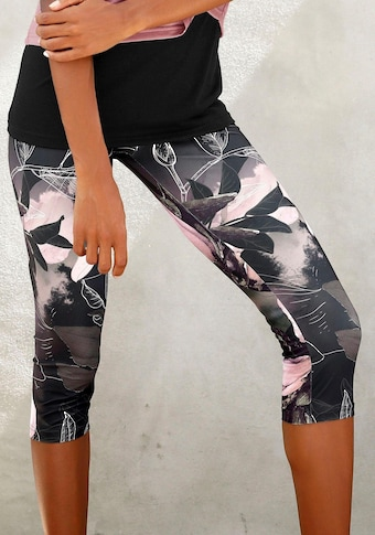 LASCANA ACTIVE Caprileggings »Tropical«, mit abstraktem Blumenprint