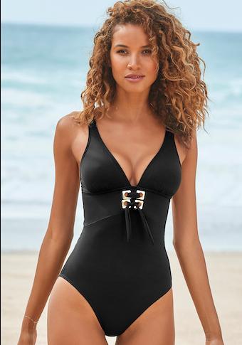 LASCANA Badeanzug, mit goldfarbenenen Details