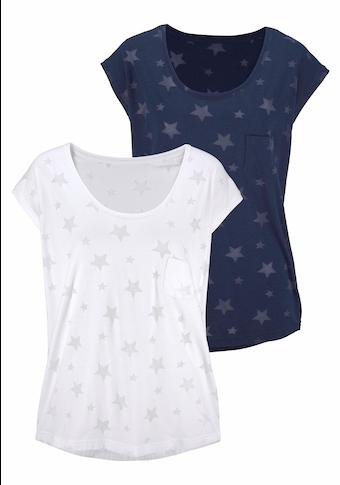 Beachtime T-Shirt, Ausbrenner-Qualität mit leicht transparenten Sternen
