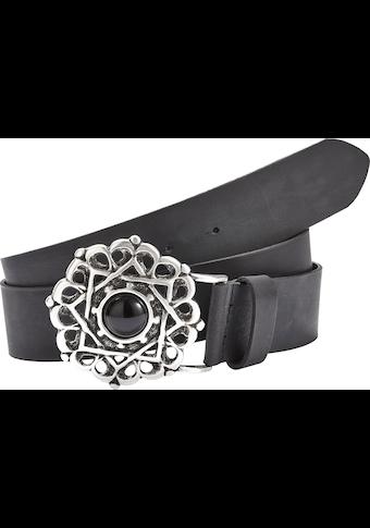LASCANA Ledergürtel, Hüftgürtel aus Leder mit grosser Zierschnalle