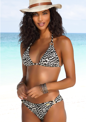 LASCANA Triangel-Bikini-Top »Clara«, mit goldfarbenen Ringen