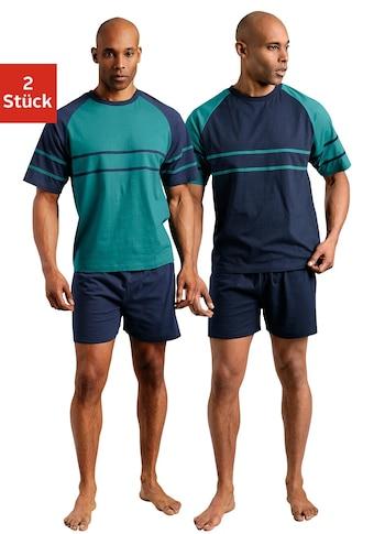 Pyjashort Le Jogger (2 pièces), forme courte, avec manches raglan, en pur coton