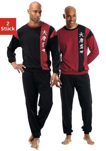 Pyjama Le Jogger (2 pièces), forme longue, avec manches raglan, en pur coton