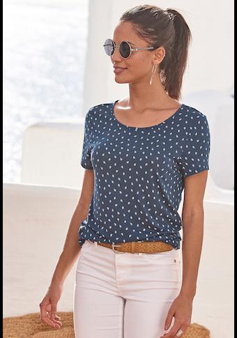 LASCANA T-Shirt, mit süssem Blätter-Druck und Cut-Out im Nacken