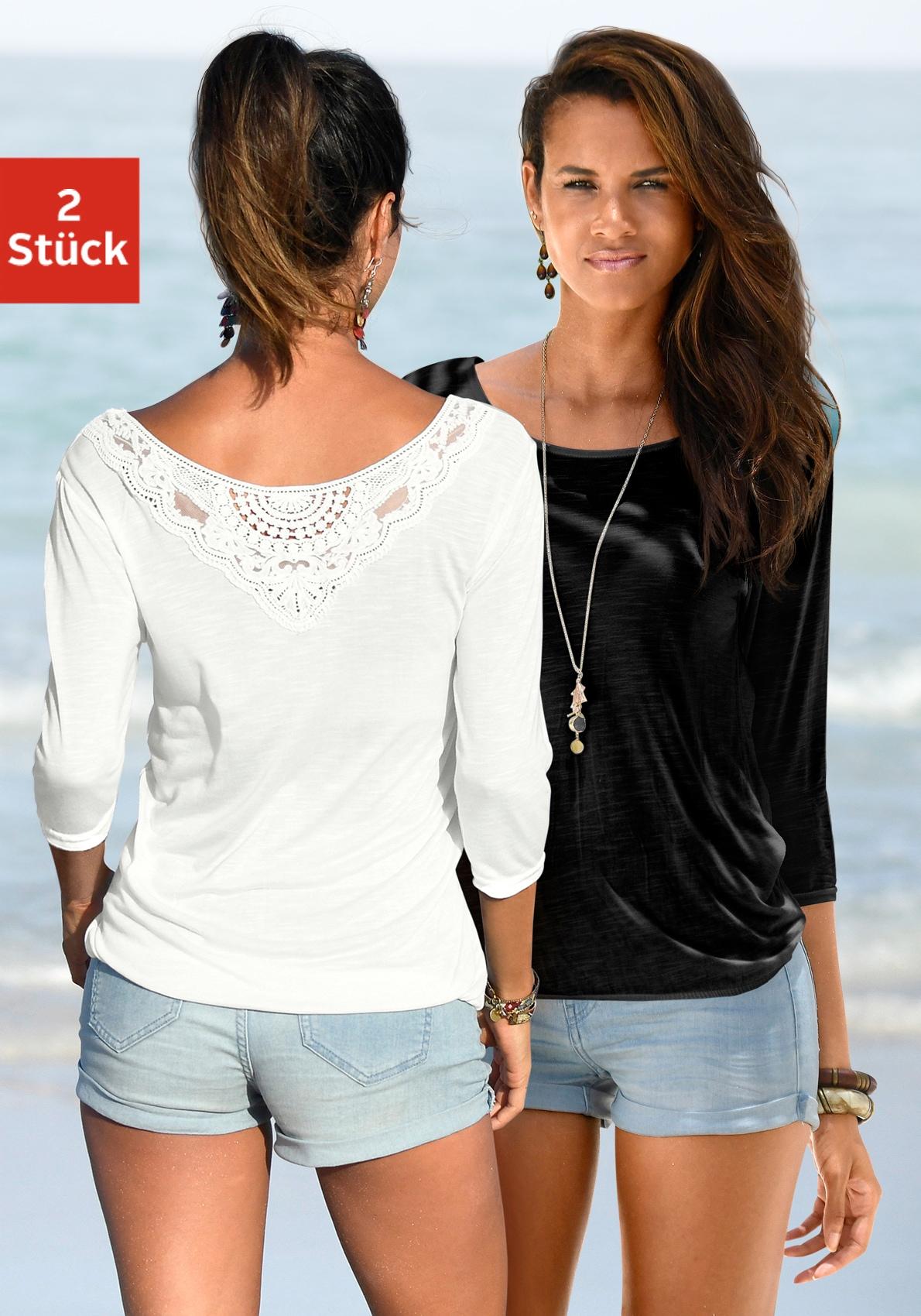 Image of Beachtime 3/4-Arm-Shirt, mit tollem Spitzendetail am Rücken